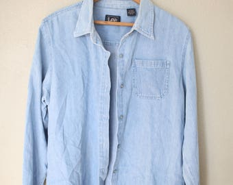 vintage oversized  blue chambray denim indiustrial shirt