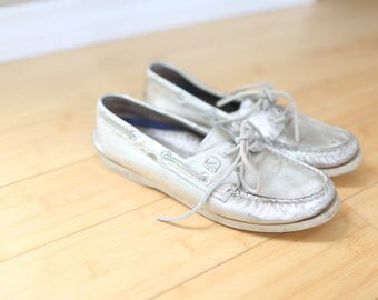vintage sperry metallic gold leather oxfords boat shoes womens 8