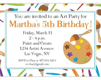 Art Party Birthday Invitation, Artist Birthday Invitation, Painting Birthday Invite, Digital Design - CUSTOM for You, 4x6 or 5x7 size
