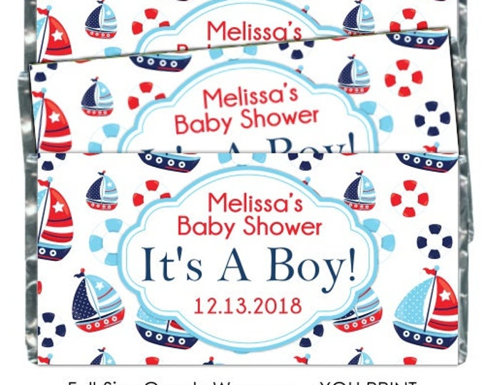 PRINTABLE Baby Shower Candy Wrappers - Nautical Boats, Navy and Light Blue, Chocolate Bar Candy Wrappers -  new baby, baby shower