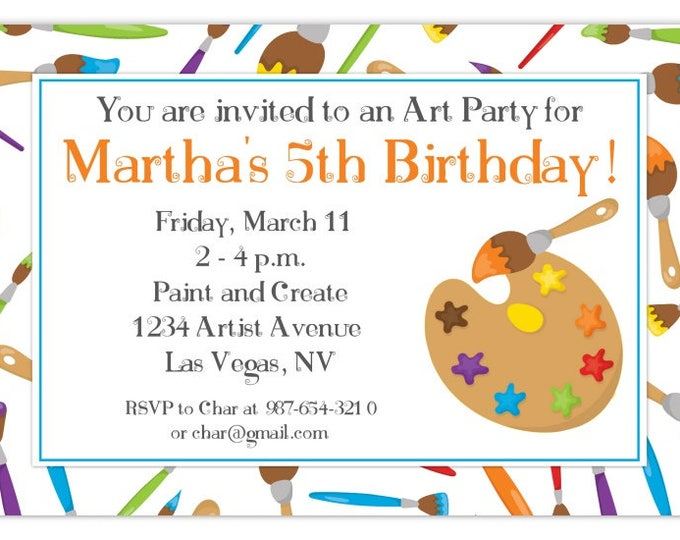Art Party Birthday Invitation, Artist Birthday Invitation, Painting Birthday Invite, Digital Design - CUSTOM for You, 4x6 or 5x7 size