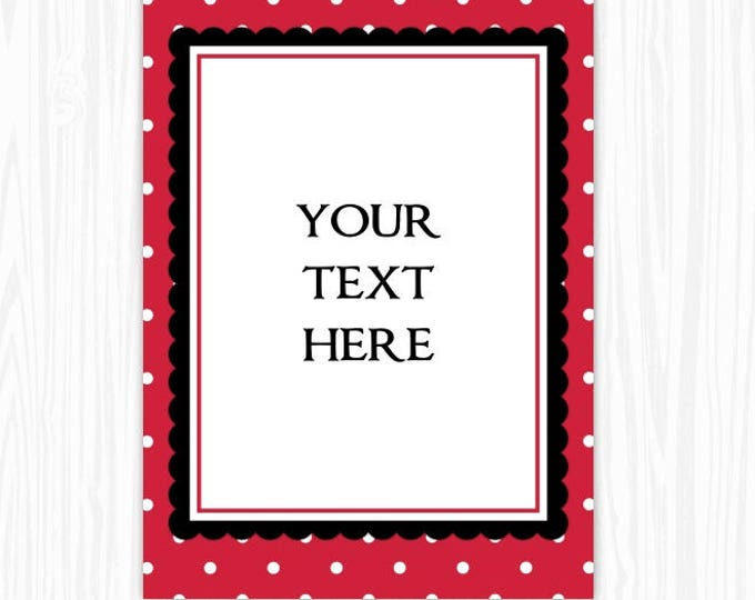 5x7 Red Polka Dot BLANK Sign, Printable Sign or Invite, Birthday or Shower, Editable Sign or Invitation, INSTANT Download