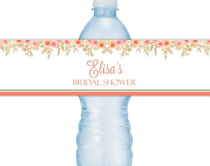 Wedding Water Bottle Labels - CUSTOM Peach Floral and Gold Bridal Shower Water Bottle Labels, YOU print, you cut, DIY water bottle labels