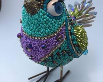 Beaded Bird Figurine