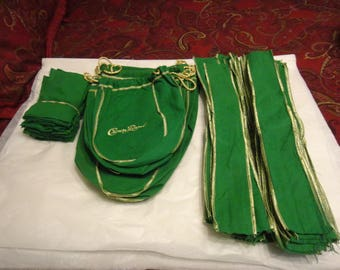 Crown Royal Apple Green Bags. strips and material pieces