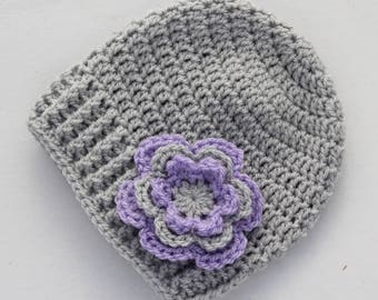 Crochet beanie, baby hat, baby girl hat, crochet baby hat, grey and purple, girl winter hat, infant hat, baby beanie - MADE TO ORDER