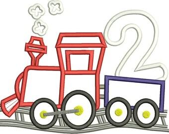 Train Birthday, Train 2nd Birthday, Second Birthday, Machine Embroidery design 412