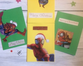 Pack of 4 | COMIC BOOK | Christmas Cards | Spiderman | Card Set | Green and Yellow | CHRISTMAS | Greeting Cards | Festive | Super Heroes