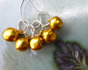 STITCH MARKERS, Special Offer, bells, gold, golden, 5, Mollycoddle Yarns Indie wool dyer, gift, present, knitter, handmade