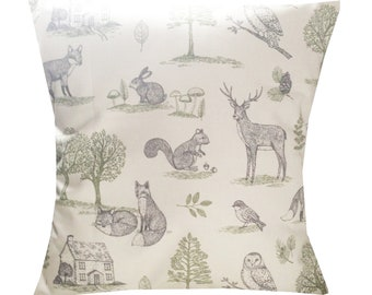 "Designer fox woodland forest animal grey & sage deer cushion cover 16"" - 24"""