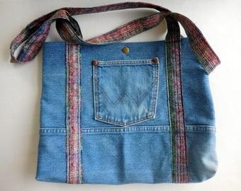 Upcycled Wrangler Denim Shoulder Bag, Denim purse, Hobo bag, Recycled Denim Tote, jean purse, handmade pocketbook, multicolor interior