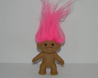 """Vintage Pink Hair Pink Eyes Troll Doll 3"""""""