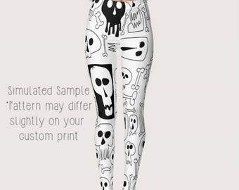 Skulls Leggings, Custom, Spandex, Yoga Pants, Full Length, Halloween, Bones, Crossbones, Skeleton, Gothic, Tattoos, XS-XL - Skulls 1