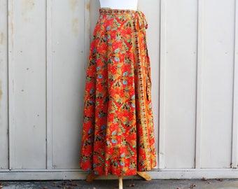 Butterfly Wrap Skirt - Wraparound Skirt - Bohemian Maxi Skirt - Red Boho Skirt - Hippie Skirt - Festival Skirt - Indie Skirt - Psychedelic