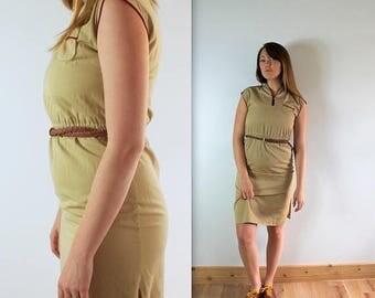 AUGUST SALE Vintage Khaki Uniform Wiggle Dress