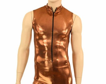 "Mens ""Stanley"" Copper Mystique Zipper Front Sleeveless Romper Party Animal Festival Rave Bromper - 155106"