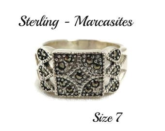 Sterling Silver Ring - Vintage Beaded Marcasite Wide Band Ring, Size 7, Gift for Her, FREE SHIPPING