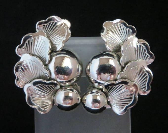 Signed STAR Earrings, Silvertone Flower Earrings, Vintage Clip-on Earrings, Summer Jewelry Gift for Her