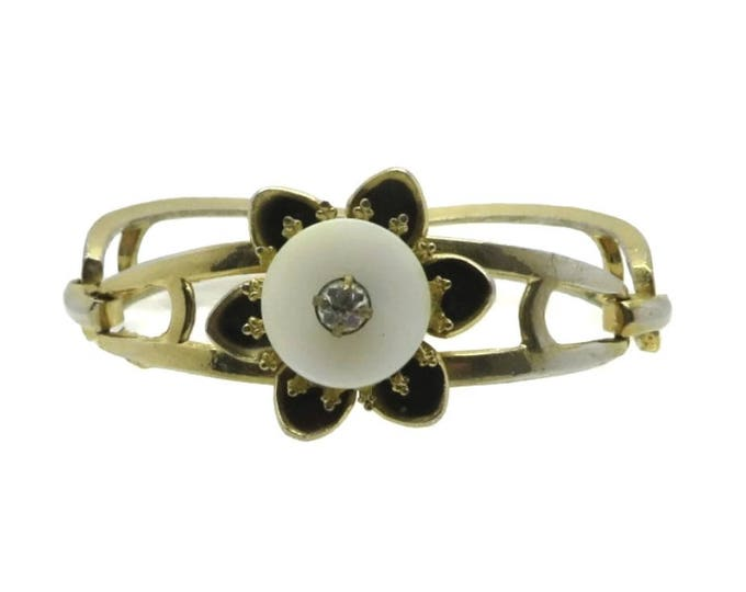 Coro Flower Bracelet, Vintage Enamel Flower Cuff, Black and White Bracelet, Signed Designer Jewelry, FREE SHIPPING