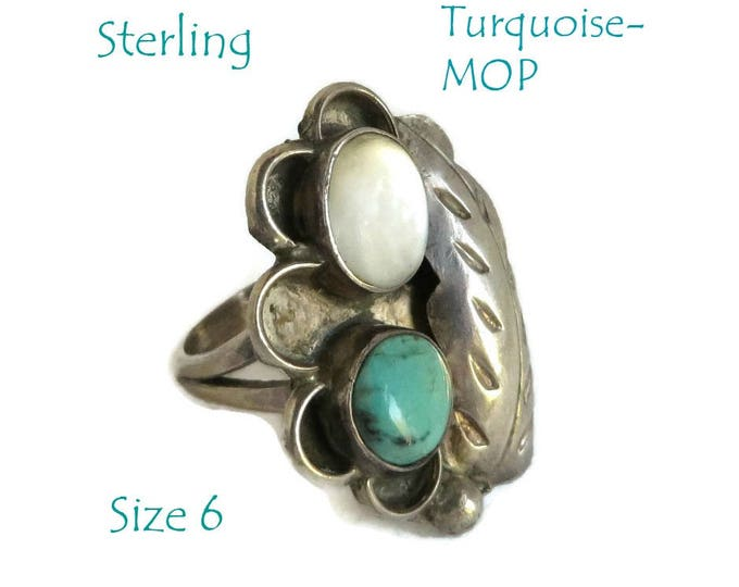 Navajo Sterling Silver - Turquoise MOP Ring, Vintage Feather Ring, Native American Statement Ring, Size 6, FREE SHIPPING