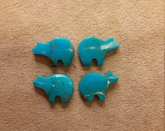 55% OFF Assorted Arizona Blue Turquoise Bear Cabochons/ backed/ seconds