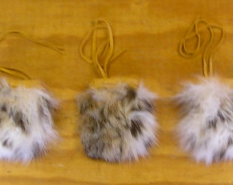 3 Bobcat Fur & Gold Color Deer Leather Bags