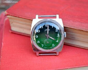 Vintage Soviet Russian Zim Stainless Steel Silver Green Mechanical Wind Up Men's Wrist Watch Made in CCCP Etched date 18 VI 83 Free Shipping