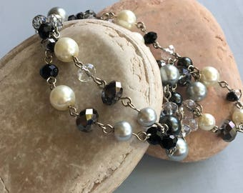 Neutral-Toned Swarovski Pearl and Crystal Necklace