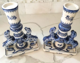 Pair of Blue and white porcelain candle dog sculptures