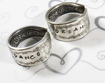 Hand stamped Spoon Ring - Custom - Vintage 1936 Mildred Pattern Ring - Upcycled
