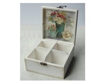 Wooden tea box Tea caddy Tea bag holder Tea storage box Tea bag storage Tea chest Tea organizer Wood tea box Tea gift box Tea lover gift
