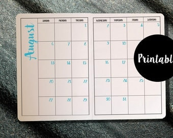 Monday Start, B6, Undated Monthly Calendar, Midori, Traveler's Notebook, Planner Insert, Printable