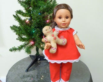 """American Doll Christmas Pajamas and Gingerbread man/AG doll Red Flannel PJs/Girl doll Sleepwear/Christmas Morning Gift/18"""" Holiday Clothes"""