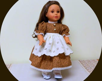 "18 inch Doll Dress,Pantaloons,Apron/Colonial American Doll Civil War Day Dress/AG Clothes/18"" Girl doll outfit/Undergarments/free shipping"