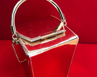 Gold Patent Leather Evening Clutch