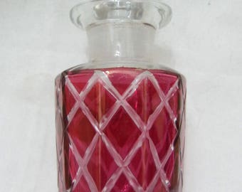 Scent Perfume Bottle Cross Cut Clear & Pink Glass - Vintage