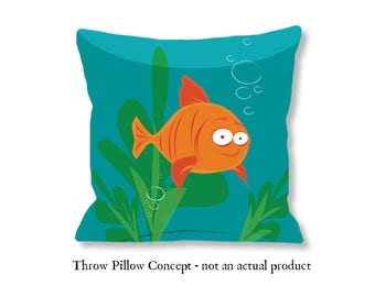 Goldfish Illustration. Digital Art Download. Art to make your projects even more fun, Pillow not included.