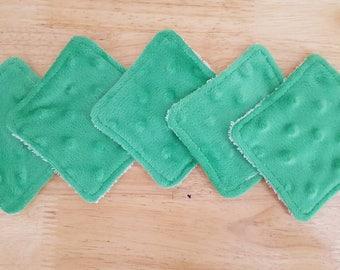 Reusable Makeup Remover Pads, Set of 5 makeup remover pads, Reusbale face Scrubbies, green face Scrubbies, green make up remover pads, soft