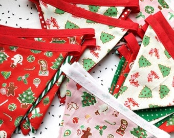 Christmas Bunting - Christmas Decorations - Red & Green Stripe Polka Dot Patterns - Vintage Deer - Pink Girly Christmas Flags
