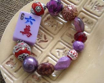 Mahjong Bracelet - Jesse James Beaded Mahjong - Purple Mahjong - Oriental Jewelry - Mahjong Gift - Gift Idea - Red Hat Jewelry