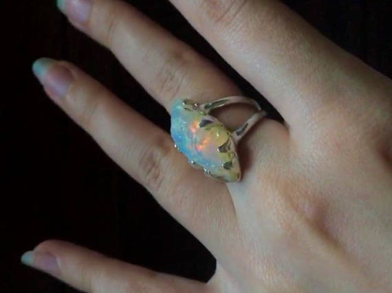 Solid Sterling Silver Rough Raw Rainbow Opal Ring Huge Gemstone Beautifully Flash Double Banded