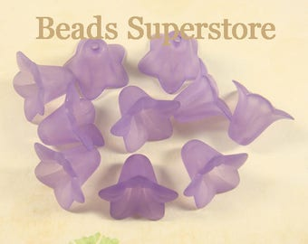SALE 18 mm x 12 mm Purple Lucite Flower Bead - 10 pcs