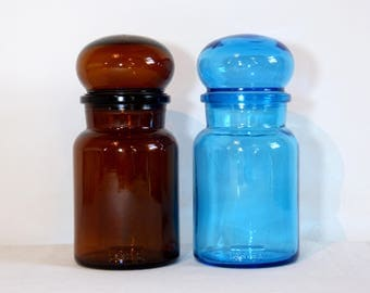 Glass airtight bubble lid ARIEL round apothecary jars containers - blue & brown - retro kitchen or bathroom storage - French 70s vintage