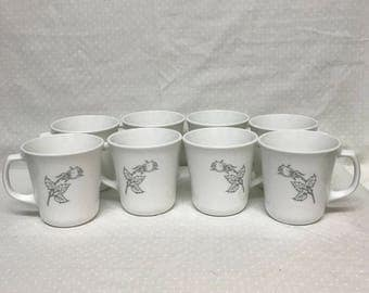 Set Of Eight Corelle Coffee Cups By Corning Solitary Pattern Gray Rose