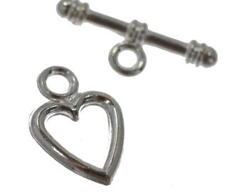 10 Silver Plated Heart Metal Toggle Clasps 14mm Jewellery Making Findings DIY Craft