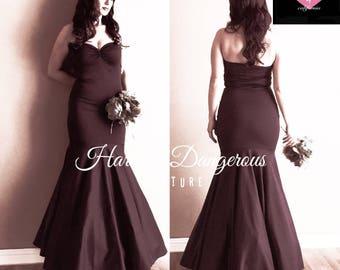 Handmade in the USA! Chocolate Brown MERMAID Dress, Strapless Bridesmaid 50s Style Long Bridesmaid Dress,  Mod Prom Punk Rockabilly Wedding