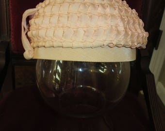 "Vintage Pink Beret -Pink Grosgrain Ribbon Hat -Union Made Tag -1950's Pink Hat -spiralled grosgrain ribbon -Size 22"" -Vintage gift idea"
