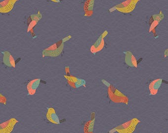 A253.3 - Hedgerow Birds On Warm Grey Lewis & Irene Patchwork Quilting Dressmaking Fabric