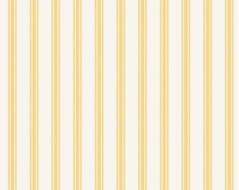 So Darling A287-2 Ticking Stripe Lemon Lewis & Irene Patchwork Quilting Fabric
