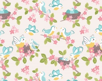 So Darling A288-1 Bluebirds on Cream Lewis & Irene Patchwork Quilting Fabric